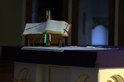 Close up of High Alter with Liturgy Book