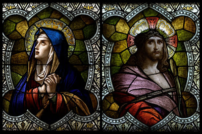 Stained Glass window portraits of Jesus and Mary