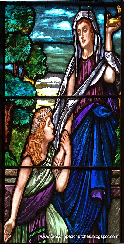 Stained glass window with one wise Bridesmaid and one foolish one.