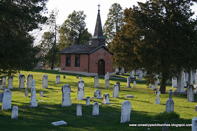 The Steineman Chapel with the cemetery in the foreground.