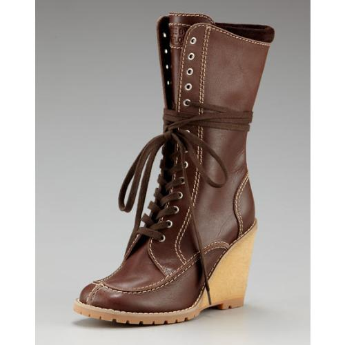lace up boots trend. Crepe Wedge Lace Up Boot