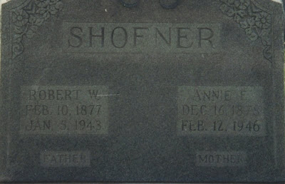 Robert W Shofner and Annie E Liles tombstone