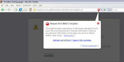 Web Forgery or Phishing Activity Notification by Firefox