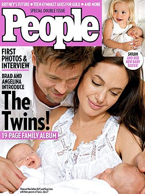 People Magazine showing the Brangelina's Twins Photos - Vivienne, Knox