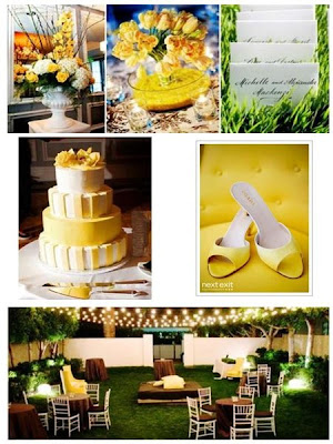yellow and light blue themed weddings