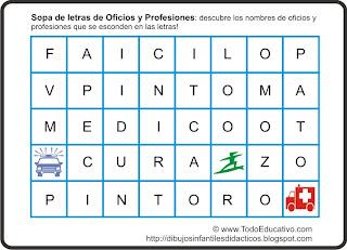 Download pintar: Sopa de letras para niños! de Oficios y profesiones