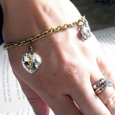 vintage style Swarovski crystal pewter wolf edward ullen bella swan stephenie meyer Twilight inspired bella bracelet