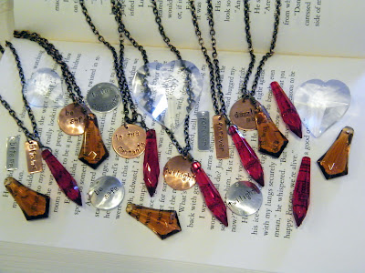 Handstamped Twilight Inspired Necklaces Red Topaz Vintage Jewels