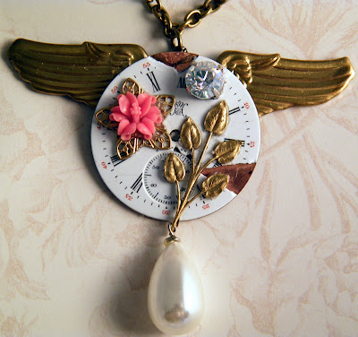 victorian steampunk clock wings necklace jeweledambrosia jeweled ambrosia vintage