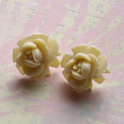 vintage ivory rose earrings jeweledambrosia