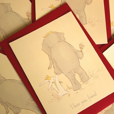 i love you friend elephant rabbit greeting card