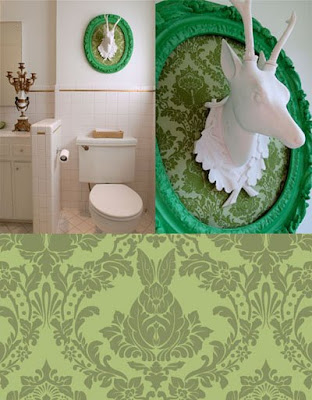 white deer mount green damask fabric bathroom decor