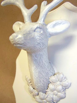 white deer head mount shabby chic
