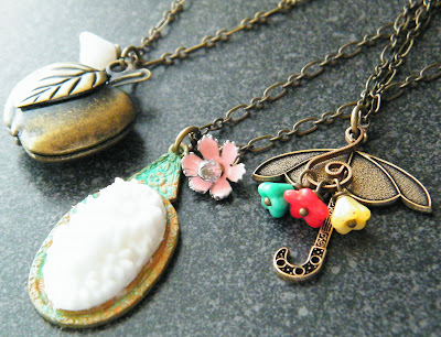 spring fashion apple locket umbrella vintage jewelry