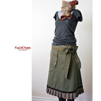 olive military pleated romantic diy skirt kaylim