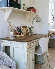 white shabby chic distressed desk