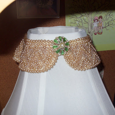 vintage beaded collar brooch lampshade shabby chic