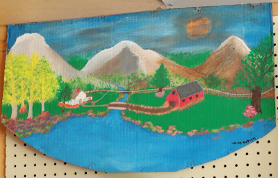 folk art, painting, valley, home, cabin, mountain, river, stream, jack butler