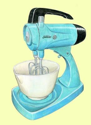 art, illustration, aqua, yellow, turquoise, retro, kitchen mixer