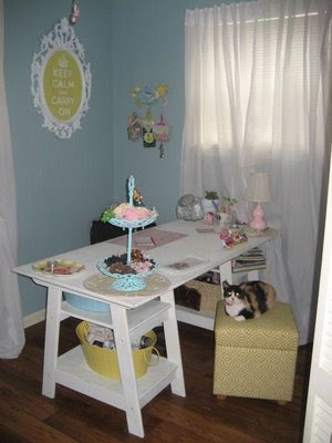 craft room shabby chic mermaid blue yellow white