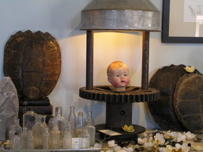 vintage bottles doll head