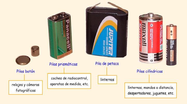 los diferentes tipos de pilas: