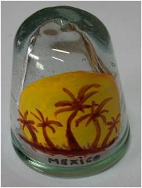 vidrio soplado con atardecer marino