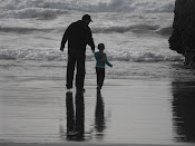 A walk on the beach with daddy