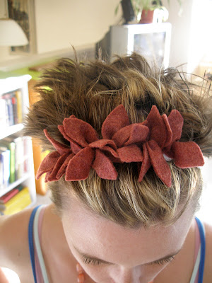 Trying to rein in my wild short hair with a little leafy headband.