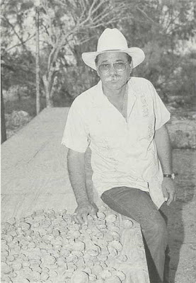 Fig. 5 - Salvador Johnson, who has been a peyotero for more than 30 years, with drying peyote 'buttons.'