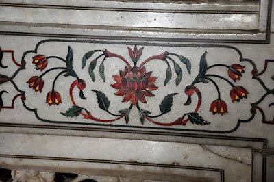 Detailed floral pattern inlaid with stone, burial chamber