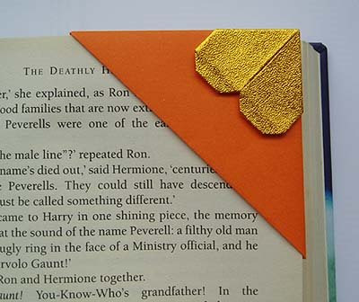 origami corner bookmark gold