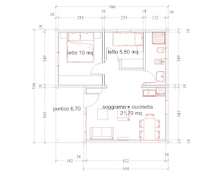 Progetti di case in legno casetta 49 mq portico 7 mq for Progetti contemporanei di case a pianta aperta