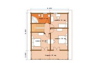 Progetti di case in legno casa 138 mq terrazza 16 for Kit di casa a 2 piani