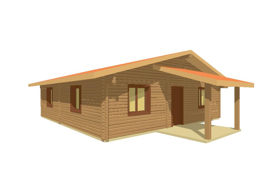 Progetti di case in legno casa 88 mq portico 9 mq for Progetti di piani portico proiettati