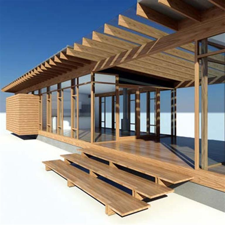 Glass and wood small house design by vandeventer for Small wooden structures