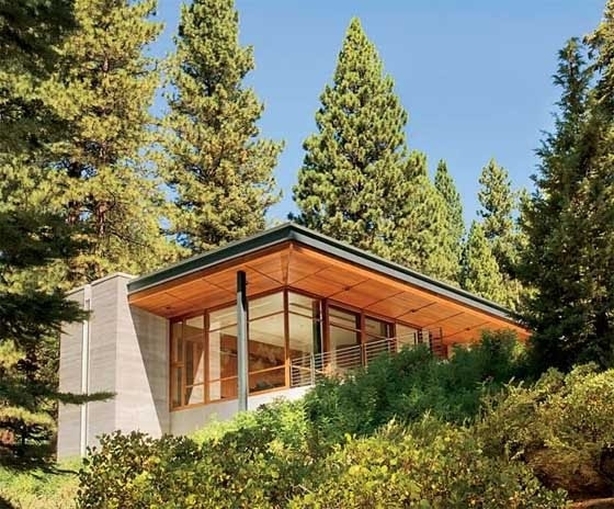 Wooden home design on lake tahoe for Tahoe architects