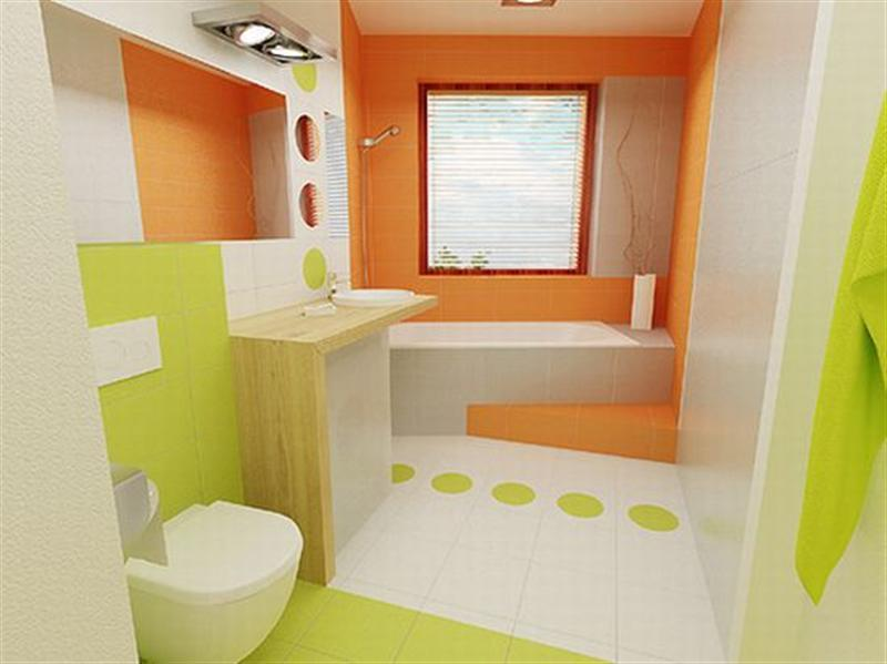 Bathroom design orange and green bathroom modern colors for Green color bathroom design
