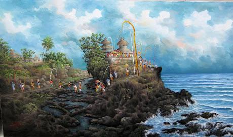Lukisan Tanah Lot Siang Hari