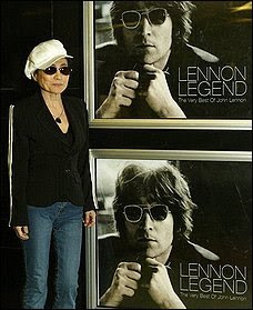 In this Oct. 14, 2003 file photo, Yoko Ono, stands by a poster of her late husband ex-Beatle, John Lennon, at the premiere of the DVD containing 20 songs and some previously unreleased footage and home movies of Lennon, at a London cinema. A federal judge's ruling Thursday June 25, 2009 in Boston says Yoko Ono is the rightful copyright holder of rare, intimate footage showing Lennon and his family in London in 1970. (AP Photo/Alastair Grant, File) (Alastair Grant - AP)