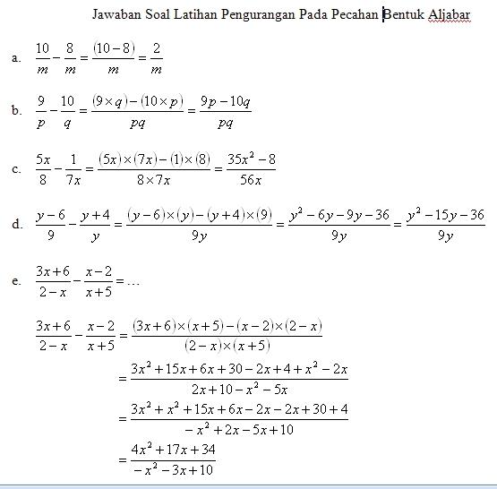 Kunci Jawaban Matematika Aljabar Kunci Jawaban