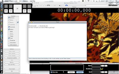 Die Oberfläche von Software, bestehend aus Filmbild, Time Code, Titelgenerator und Auswahltafeln