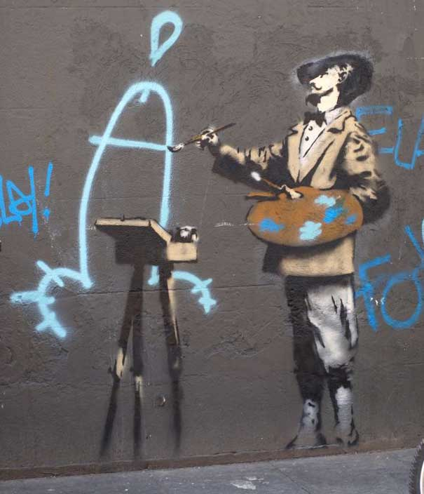 banksy graffiti artwork. anksy graffiti artwork.