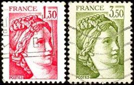 Las sabinas de David Valor de los sellos: 1,30 y 3,50fr