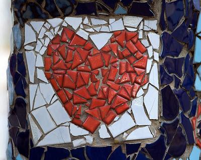 coração partido mosaico