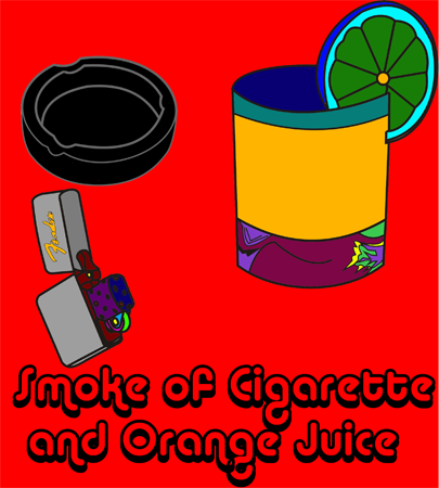 Smoke of Cigarette and Orange Juice