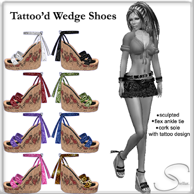 Sculpted high wedge shoes with heart/skull tattoos on the cork heel & a cute