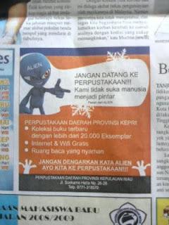 ucapan alien dalam koran