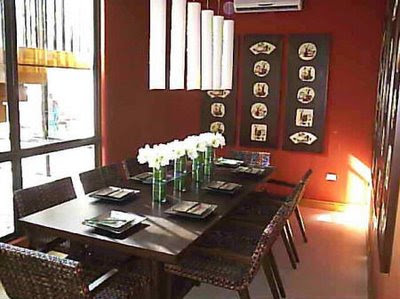 Traditional Japanese style in the design of the dining room with seating
