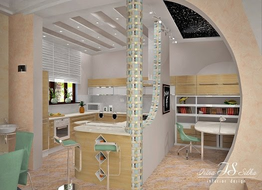 Irina Silka Project on 3D Kitchen and Kids Study Room